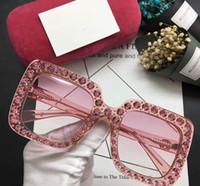 Wholesale Small Frame Sun Glasses - Luxury brand sunglasses women G 0148 mosaic diamonds design fashion sun glasses large square frame small legs popular eyewear with Red cases