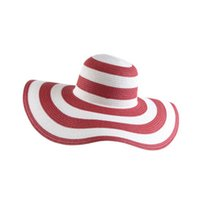 Wholesale high quality straw hats online - High Quality Wide Brim Hats Fashion Straw Hat Women Summer Sunshading Beach Cap With Black And White Stripes ds jj