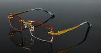 ingrosso taglio del diamante bordo-Occhiali da vista 24k Luxury Pure Titanium Occhiali da vista Frame Diamond Cutting Bordi Occhiali Decorazioni per montature Occhiali da vista