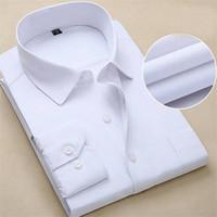 lüks düğün smokinleri toptan satış-Artı Boyutu 2018 Yeni erkek Lüks Gömlek Düğün Parti Elbise Uzun Kollu Gömlek Ipek Smokin Gömlek Erkekler Merserize Pamuk 9XL