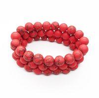 rote howlite perlen großhandel-10 mm matt rot Howlith Türkis Armband, Edelstein Armband, Türkis Runde Perlen, elastisches Armband, viel Glück Armband