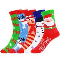 ingrosso stella di albero di natale blu-5 paia di calze di Natale a metà autunno in cotone misto calze alla moda per mantenere il caldo Festival delle feste