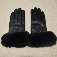 Wholesale branded sheepskin gloves for sale - Group buy Premium brand winter leather gloves and fleece touch screen rex rabbit fur mouth cycling cold proof thermal sheepskin sub finger gloves