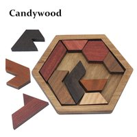 Wholesale wood shapes geometric - Funny Puzzles Wood Geometric Abnormity Shape Puzzle Wooden Toys Tangram Jigsaw Board Kids Children Educational Toys for Boys