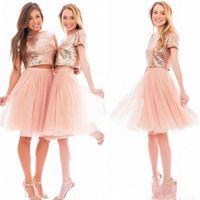 dos piezas junior vestidos de fiesta al por mayor-2019 New Sparkly Blush Pink Rose Gold Sequins Vestidos de dama de honor Playa Barato Manga corta Tallas grandes Junior Dos piezas Vestidos de fiesta