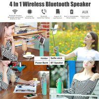 selbststichhalter großhandel-Selfie Stick Wireless Bluetooth Lautsprecher Power Bank Telefon Ständer Lautsprecher Handy Halter Bluetooth Lautsprecher.