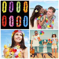 Wholesale colour necklace - Thickening Garland Simulation Artificial Colour Silk Flower Artificial Flowers Necklace Hawaii Sandy Beach Tropic Party Decorate MMA124
