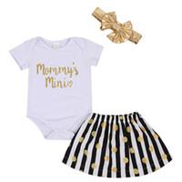 polka dot t shirt bebek toptan satış-FOCUSNORM Bebek Bebek Kız Giysileri Kısa Kollu Romper T-Shirt + Bantlar + Polka Dot Etekler Kıyafet