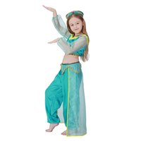 Wholesale Belly Dance Costumes Children - Girls Aladdin's Lamp Jasmine Princess Costumes Cosplay For Children Halloween Party Belly Dance Dress Indian Princess Costume