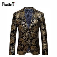 Wholesale beige color for mens suits - Black Gold Blazer Men Paisley Floral Pattern Wedding Suit Jacket Slim Fit Stylish Costumes Stage Wear For Mens Blazers Designs