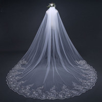 Wholesale net pictures - Long Bridal Veils With Applique Edge And Cathedral Length Real Pictures One Layer Beautiful Bridal Accessories Custom Made