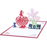 anneler tebrik kartları toptan satış-3D Pop Up Kağıt Nişan Kartı Anne Günü Tebrik Kartları Zanaat Kartpostal Oymak 5 5kk C R