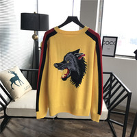 Wholesale Wolf Print Hoodies - 2017 spring Fashion solid New casual Male Wolf bee printing long sleeve Hoodies Men pullover Sweatshirt