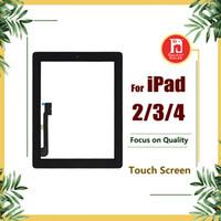 ipad2 digitalisierer großhandel-Für ipad 2 3 4 screen digitizer glas touch panel ersatz ersatzteile montage mit home button aufkleber für ipad2 3 4