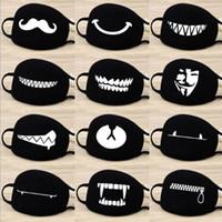 masque noir achat en gros de-Mode De Bande Dessinée Motif Solide Noir Coton Visage Masque Mignon 3D Imprimer Demi Face Bouche Moufle Masques Parti Masques En Plein Air Vélo Masque