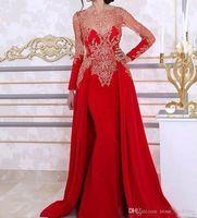 arabisches rotes kaftan kleid großhandel-Lange Perlen Rote Meerjungfrau Abendkleider mit Abnehmbarem Zug Sheer Ausschnitt Langarm Spitze Pailletten Arabischen Kaftan Formale Abendkleider
