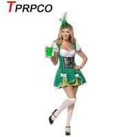 ropa oktoberfest al por mayor-TPRPCO Oktoberfest Mujeres Octoberfest Fiesta de disfraces de rendimiento Ropa de baile Conjunto vestido de fiesta de cerveza Verde con pequeño sombrero XL L M