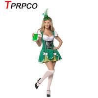 ingrosso costumi da birra-TPRPCO Oktoberfest Women Octoberfest Costume Party Performance Dance Abbigliamento Set Beer Party Dress Verde con cappellino XL L M