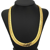 Wholesale Curb 12mm - Curb Cuban Gold Color Chain For Men 18K Heavy Charming Fine Jewelry 12MM Choker Hip Hop Miami Rope Rapper Necklace Hot Sale FreeShipping