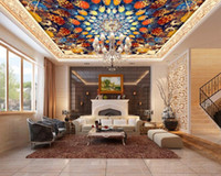 Ceiling murals canada customize 3d ceiling murals wallpaper bright colorful rotating pattern hotel lobby bedroom
