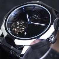 otomatik saatler şeffaf arama toptan satış-Kazanan Mavi Okyanus Geometri Tasarım Şeffaf İskelet Dial Erkekler İzle Üst Marka Lüks Otomatik Moda Mekanik İzle Saat