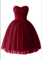 vestido corto vestido de bola corsé al por mayor-Corto Puffy regreso a casa vestidos de baile sexy Victoria Borgoña tul vestido de bola de novia corsé vestidos de fiesta de cóctel
