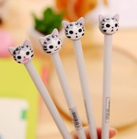 Wholesale cat stationery pens for sale - Group buy 4pcs mm New Arrival Cute Cheese Cat Gel Ink Pen Promotional Gift Stationery School Office Supply FOD