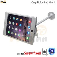 Wholesale Wall Display Holders - tablet pc display flexible gooseneck wall mount holder stand for iPad mini 4 security safe locked metal box foothold support arm