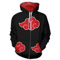 Wholesale naruto itachi cosplay for sale - New Naruto cosplay costume Hoody D print Hoodies Akatsuki Hoodie Naruto Uchiha Itachi cosplay hooded zipper jacket sweatershirt