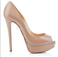 siyah platform elbise sandaletleri toptan satış-Marka tasarımcısı Marka Kırmızı Alt Yüksek Topuklar Platformu Ayakkabı Pompaları Çıplak / Siyah Rugan Peep-toe Kadınlar Elbise Düğün Sandalet Ayakkabı 34-45