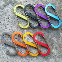 Wholesale clip backpack - Hook Clip Small 8-Shaped Aluminum Carabiner Camping Equipment EDC Traveller Slide Lock Water Buckles Two-Way Backpack Hook Buckle G676F