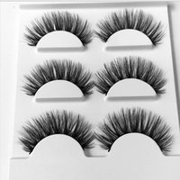Wholesale false eyelashes retail resale online - 3 Pairs False Eyelashes Makeup D Mink Lashes Eyelash Extension Make Up Beauty Mink Eyelashes Faux with Retail Package
