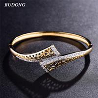 белое золото индийских ювелирных изделий оптовых-whole saleBUDONG New Fashion Hollow  Love Bangle for Women Silver/Gold-Color Bracelet White CZ Zircon Engagement Jewelry XUZ042
