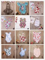 Wholesale Organic Cotton Blend - 12 styles baby girl romper kid clothes bodysuit floral plaid lace leopard solid headband ruffles sleeve buttons 2017 summer Ins briefs 0-2Y
