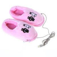 Wholesale Flip Usb - Wholesale- VSEN Cute USB Foot winter Warmer Shoes Electric Heat Slipper for Women Men (Rabbits, Pink)