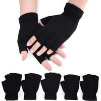 schwarze wollhandschuhe großhandel-18 CM Wolle stricken Handgelenk Handschuh schwarz kurze halbe Finger fingerlose Winter warme Workout für Frauen und Männer