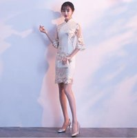 Wholesale Modify Dress - Modified qipao dress 2018 spring and summer lace short style small fragrance girl long sleeve demure atmosphere.