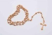 perlenkette jesus großhandel-4mm Edelstahl Gold Perlen Rosenkranz Halskette, lange Rosenkranz. Christus Jesus Silber Kreuz Rosenkranz Halskette.48pcs