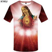 Wholesale wholesale galaxy shirts - KYKU Jesus T-shirt Men Space Tshirt Anime Clothes Hip Hop Tee Punk Rock Streetwear Galaxy Mens Clothing 2018 Summer Casual Tops