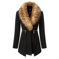Schwarzer Mantel weibliche 2018 Winter Frauen Parka lange winddichte Jacken  Alpaka Mantel Frauen Kaninchenfell Kragen Stitching Wool Blends 50 48ff33c7a4