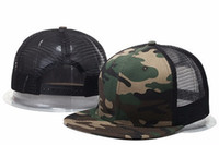 Wholesale Fitted Mesh Baseball Hats - 2018 Wholesale summer style adjustable Blank mesh camo baseball caps snapback hats for men women fashion sports hip hop bone