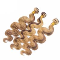 mel marrom cabelo tecer venda por atacado-Venda quente 4 27 Marrom e Mel Cabelo Loiro Onda Do Cabelo Humano Tece Meio Morango Marrom Loira Virgem Peruano 3 Ofertas Bundles