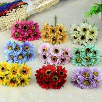 Wholesale artificial mini silk flowers - 6pcs lot Mini Silk Chrysanthemum Artificial Silk Flowers Bouquet Wedding Decoration For DIY Scrapbooking Rose Flower Ball Floral