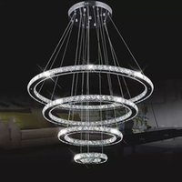 Wholesale diamond semi ring - Modern LED hanging Chandeliers K9 Crystal suspension Fixtures For living dinning room 4 Diamond Ring lustre Lighting Circle Lamp MYY
