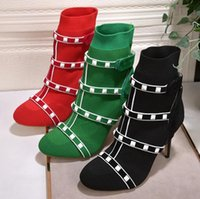 Wholesale Korean Women Dress Up - New elastic socks boots with Korean fashion rivet boots Martin boots ladies wild tide shoes size 35-40