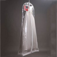 Wholesale Garment Bags Clear - Clear Wedding Dress Cover Storage Bags Dustproof Large Bridal Gown Garment 160 170 180CM