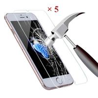 verres trempés blu achat en gros de-5 PCS Pour Screenprotector iPhone 6 En Verre Trempé Protecteur D'écran Pour iPhone 5S X 6S 7 Plus 5 SE 5C 4S 8 Film de Protection