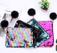 Wholesale pencil ball for sale - Mermaid Sequin Makeup Bag Fur Ball Zipper Pouch Pencil Bags Portable Glitter Reversible Sequin Cosmetic Bag Coin Purses Party Favor GGA1358