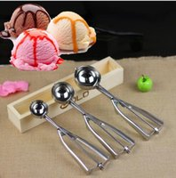 Wholesale Cookie Ice - Ice Cream Spoon Useful Stainless steel Scoop Cookies Watermelon Melon Balls Ice Cream Scoop Spoon 4cm 5cm 6cm KKA5029