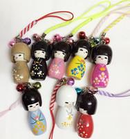 bonecas japonês kokeshi venda por atacado-Frete grátis por atacado 10 pcs Japonês Oriental Kokeshi Boneca Bolsa Charme
